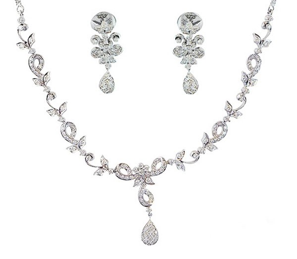 Diamond Necklace & Earrings Set 4.5 Ct Natural  Diamond Solid Gold Anniversary Certified