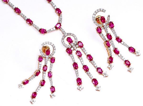 Diamond Gemstone Necklace 16.62 Ct Natural Diamond Ruby Solid Gold Engagement Anniversary Certified