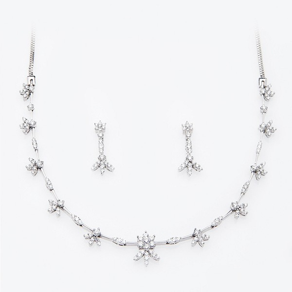 Diamond Necklace Set Design 3.25 Ct Natural Diamond Solid Gold Wedding Certified