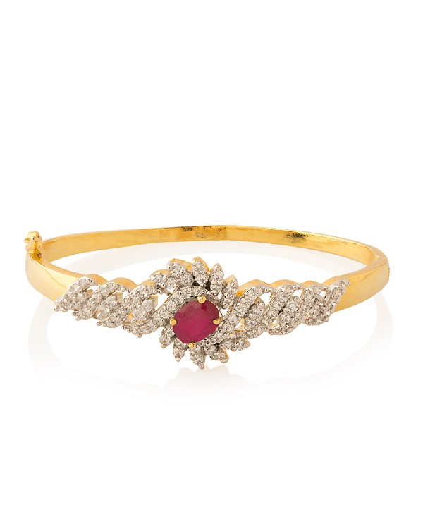 Bracelets for Women 4.02 Ct Natural Diamond Ruby Solid Gold Natural Certified