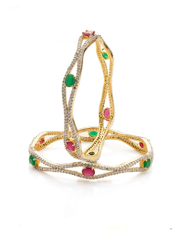 Eternity bangle 13.2 Ct Ruby And Emerald Solid Gold Natural Certified