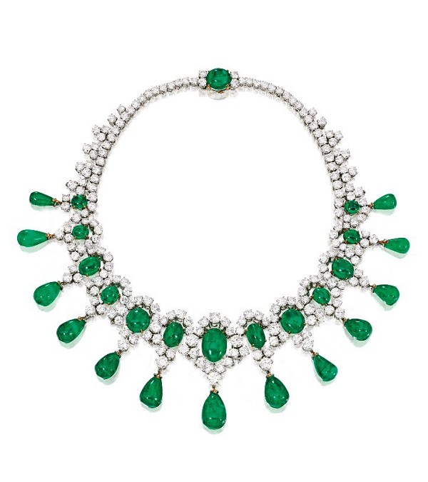 Gemstone Necklace 72 Ct Natural Diamond Emerald Solid Gold Wedding Certified