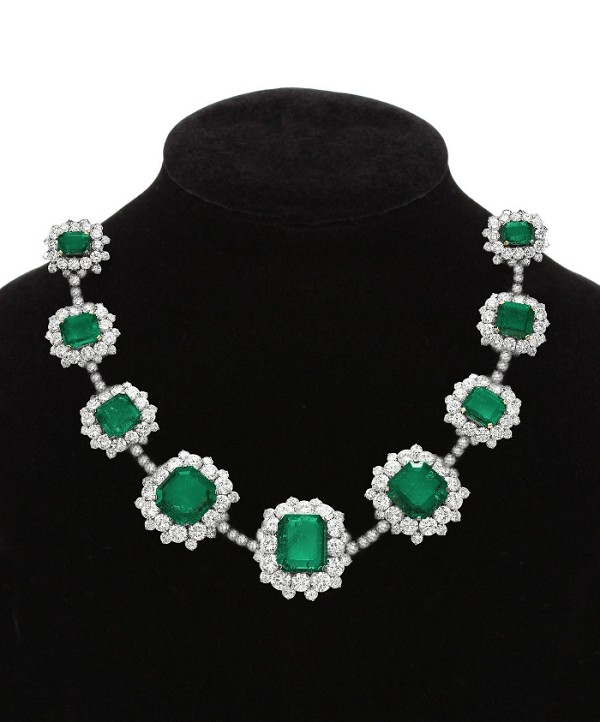 Diamond Gemstone Necklace 34.75 Ct Natural Diamond Emerald Solid Gold Wedding Anniversary Certified