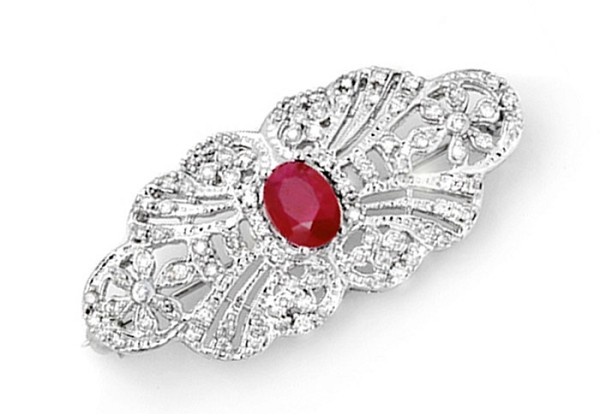 Wedding Brooches 2.85 Ct Ruby Solid Gold Fine Jewelry Natural Certified