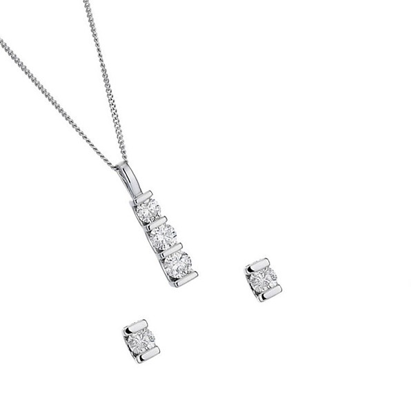 Diamond Pendant Earrings Set 0.50 Ct Round Solid Gold Earrings Natural Certified