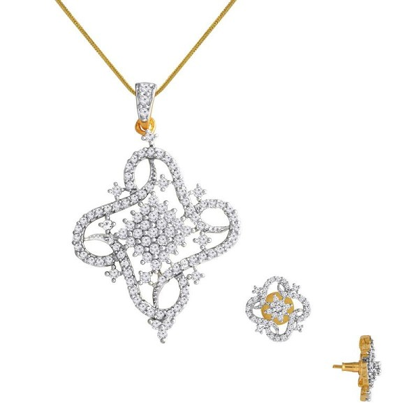 Diamond Pendant Set Designs 2.82 Ct Solid Gold Natural Certified