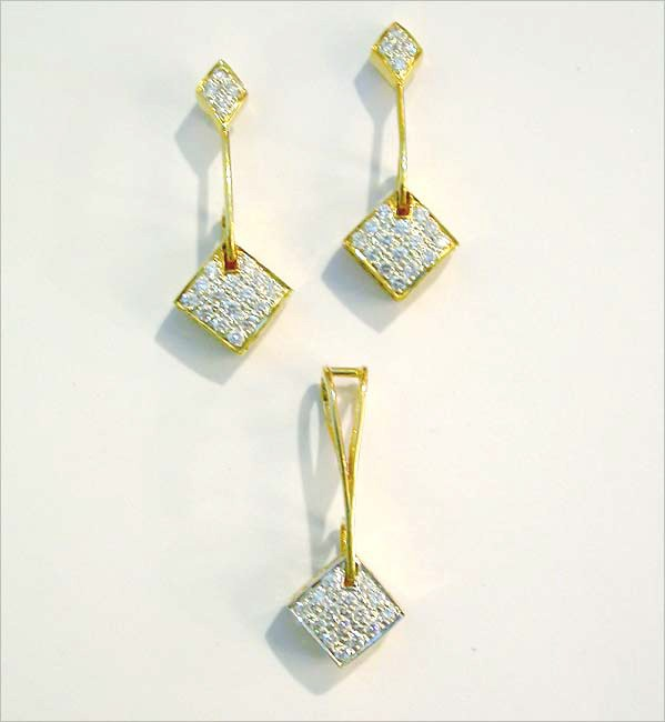 Diamond Pendant Earrings Set 0.75 Ct Solid Gold Natural Certified
