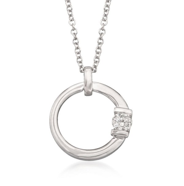 White Gold Pendnat 0.1 Ct Diamond Anniversary Natural Certified