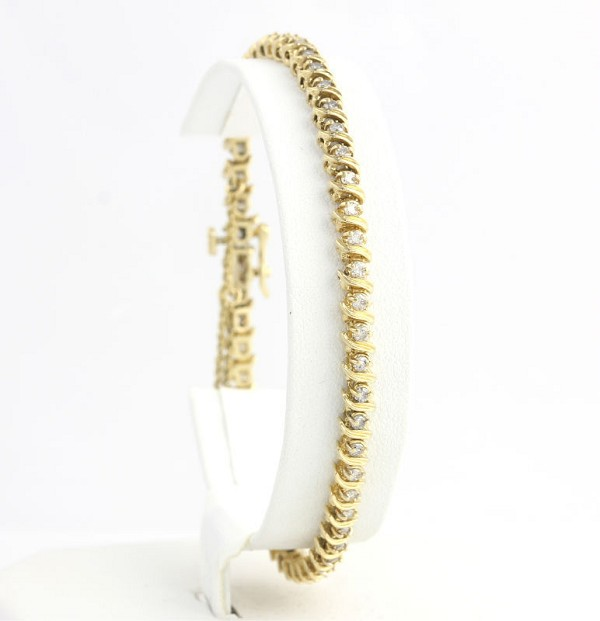 Eternity Bracelets 3.3 Ct Natural Untreated Diamond Solid Gold Natural Certified