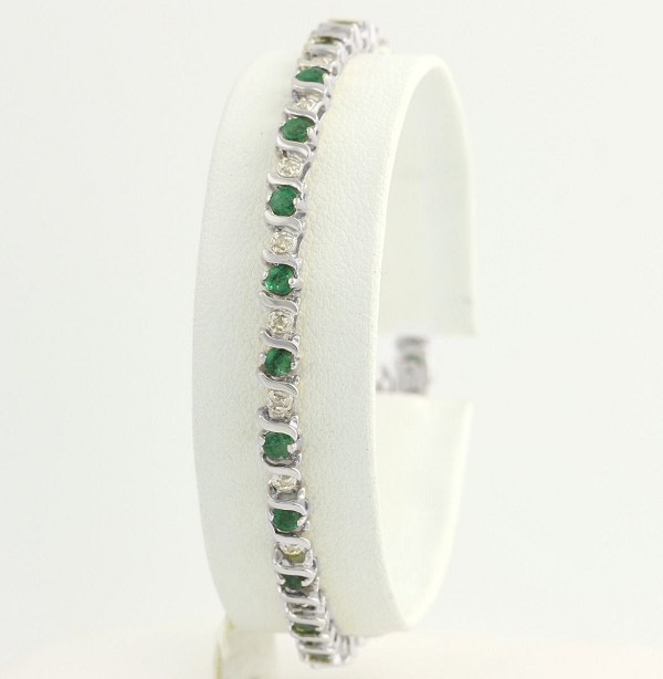 Bracelets for Women 6.6 Ct Natural Untreated Diamond Emerald Solid Gold Natural Certified