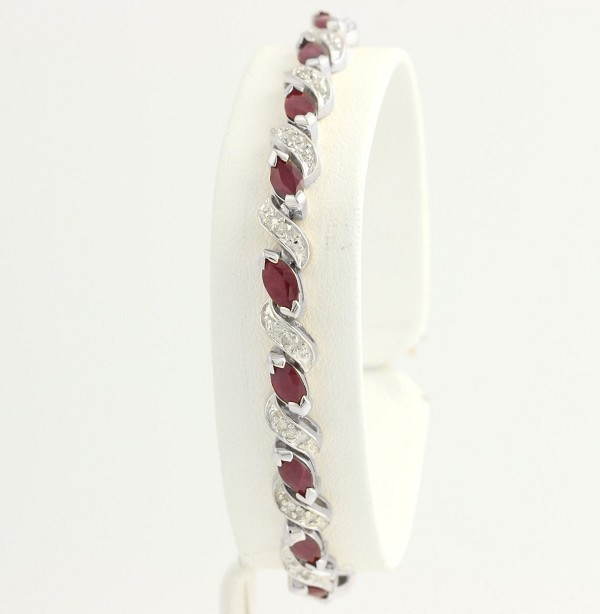 Eternity Bracelets 6 Ct Natural Untreated Diamond Ruby Solid Gold Natural Certified
