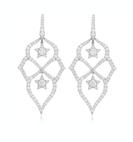Diamond Dangle Earrings 3.6 Ct Natural Certified Solid White Gold