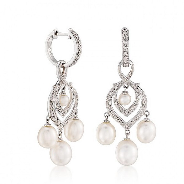 Dangle Earrings 11.92 Ct Diamond Pearl Natural Certified Solid Gold