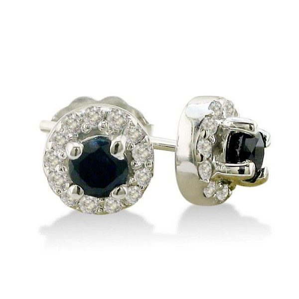 Sapphire Earrings 1.52 Ct Diamond B. Sapphire Natural Certified Solid Gold