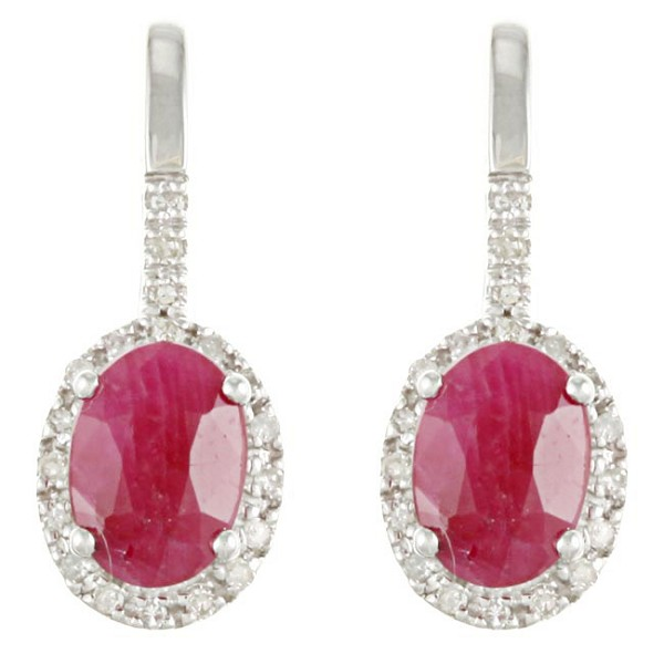 Ruby Earrings 3.35 Ct Diamond Ruby Natural Certified Solid Gold Wedding