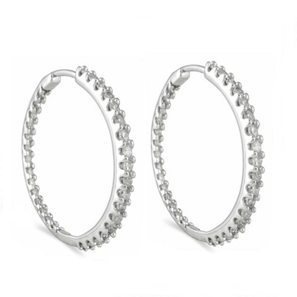 Large Hoop Earrings 1.25 Ct Diamond Natural Certified Solid White Gold