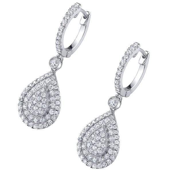 Diamond Drop Earrings 2.5 Ct Anniversary Natural Certified Solid Gold