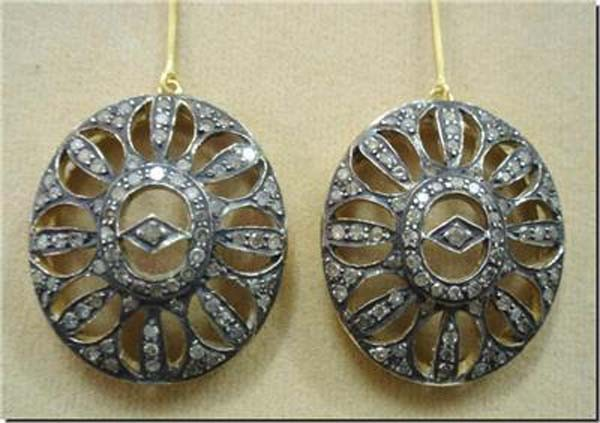 Victorian Diamond Earrings 1.55 Ct Uncut Natural Certified Diamond 925 Sterling Silver Special Occasion