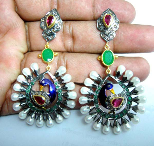 Antique Earrings 2 Ct Uncut Natural Certified Diamond 925 Sterling Silver Workwear
