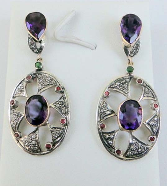Antique Earrings 1.45 Ct Uncut Natural Certified Diamond 925 Sterling Silver Vacation