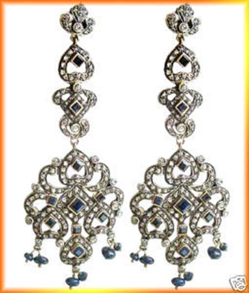 Antique Diamond Earrings 4 Ct Uncut Natural Certified Diamond 925 Sterling Silver Everyday