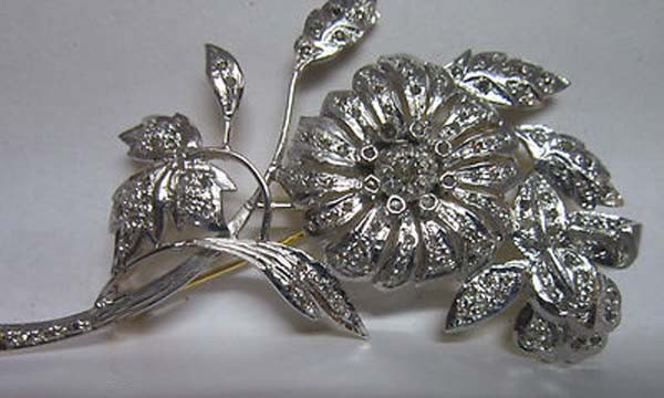 Diamond Brooch 2.3 Ct Uncut Sterline Silver Victorian Vintage Natural Certified