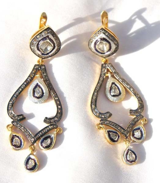 Vintage Drop Earrings 3.05 Ct Uncut Natural Certified Diamond 925 Sterling Silver Wedding
