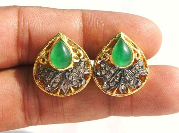 Vintage Drop Earrings 0.5 Ct Uncut Natural Certified Diamond 925 Sterling Silver Vacation