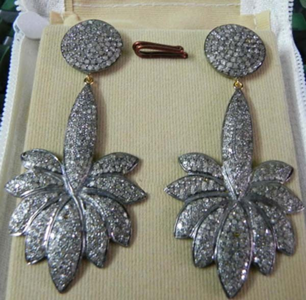 Victorian Earrings 3.7 Ct Uncut Natural Certified Diamond 925 Sterling Silver Vacation
