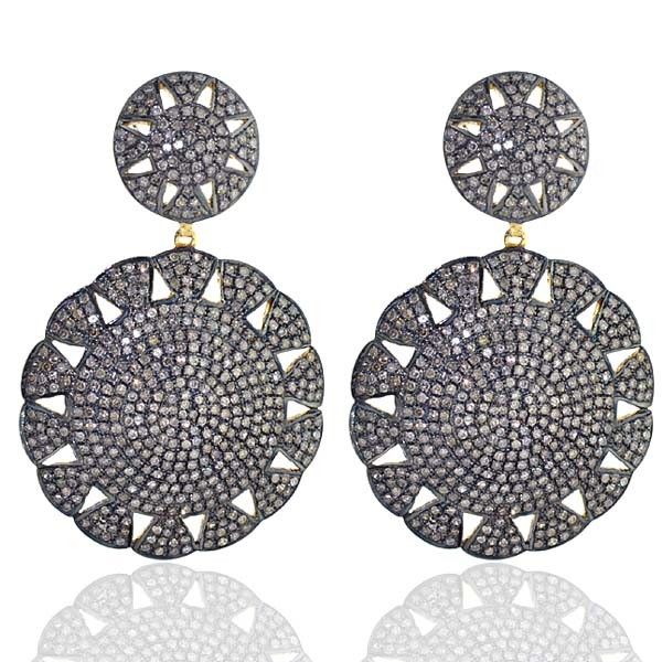 Victorian Drop Earrings 4 Ct Uncut Natural Certified Diamond 925 Sterling Silver Wedding