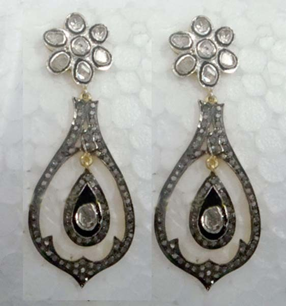 Art Deco Earrings 3.35 Ct Uncut Natural Certified Diamond 925 Sterling Silver Everyday