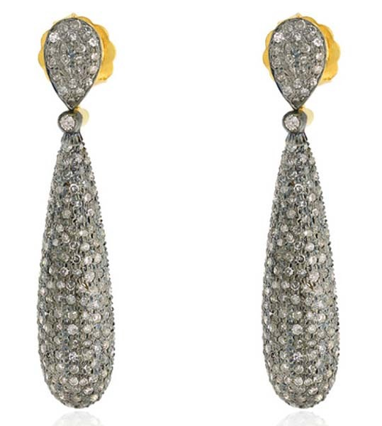 Victorian Diamond Earrings 4 Ct Uncut Natural Certified Diamond 925 Sterling Silver Special Occasion