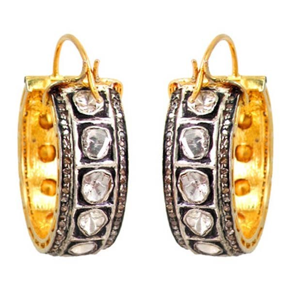 Art Deco Earrings 4.2 Ct Uncut Natural Certified Diamond 925 Sterling Silver Engagement