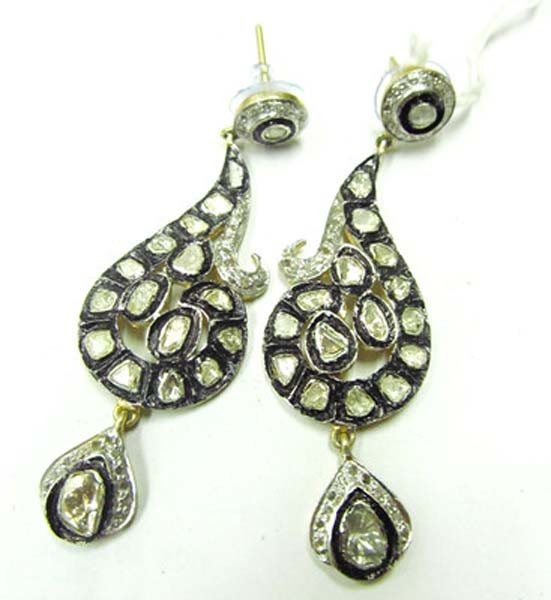Antique Earrings 3 Ct Uncut Natural Certified Diamond 925 Sterling Silver Special Occasion