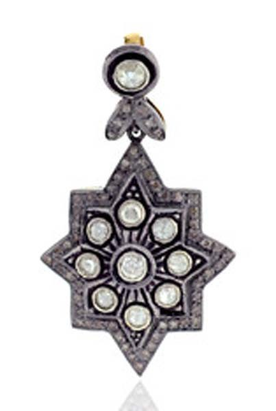 Antique Diamond Pendant 1.55 Ct Uncut Natural Certified Diamond 925 Sterling Silver Special Occasion