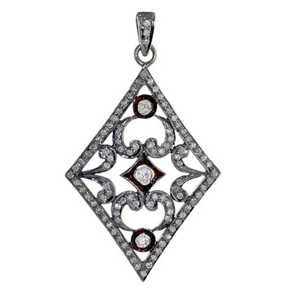 Antique Diamond Pendant 1.45 Ct Uncut Natural Certified Diamond 925 Sterling Silver Everyday