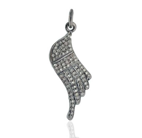 Vintage Diamond Pendant 0.75 Ct Uncut Natural Certified Diamond 925 Sterling Silver Engagement