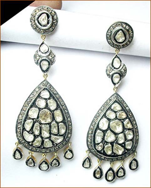 Antique Earrings 4.9 Ct Uncut Natural Certified Diamond 925 Sterling Silver Vacation