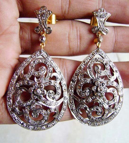 Victorian Diamond Earrings 3.25 Ct Uncut Natural Certified Diamond 925 Sterling Silver Wedding