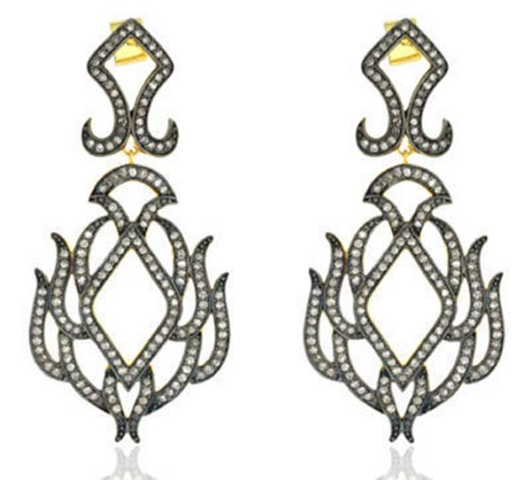 Antique Drop Earrings 3.66 Ct Uncut Natural Certified Diamond 925 Sterling Silver Festive
