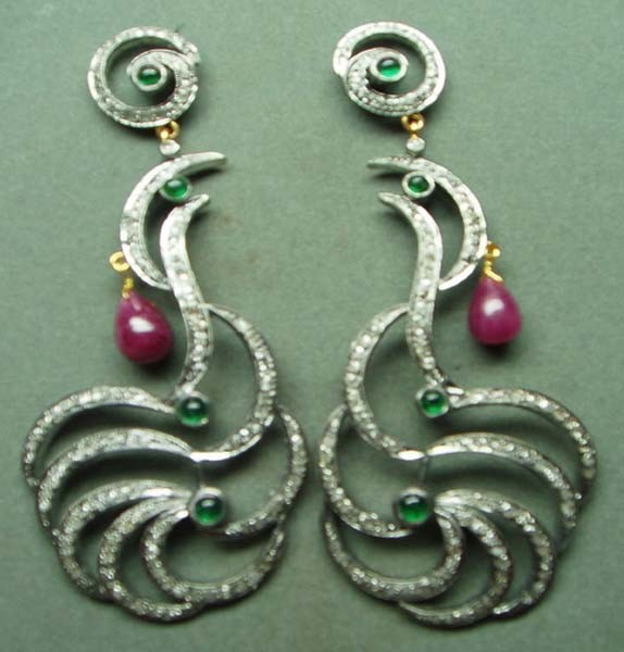 Art Deco Earrings 3 Ct Uncut Natural Certified Diamond 925 Sterling Silver Festive