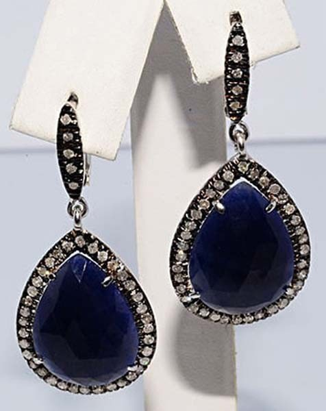 Victorian Drop Earrings 1.8 Ct Uncut Natural Certified Diamond 925 Sterling Silver Party