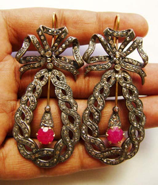 Victorian Drop Earrings 3 Ct Uncut Natural Certified Diamond 925 Sterling Silver Everyday