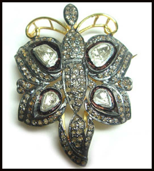 Bridal Brooches 3.3 Ct Uncut Sterling Silver Vintage & Antique Jewelry Natural Certified