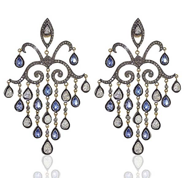 Antique Drop Earrings 3.9 Ct Uncut Natural Certified Diamond 925 Sterling Silver Anniversary