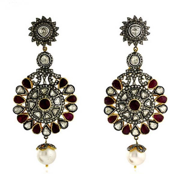 Antique Earrings 6.26 Ct Uncut Natural Certified Diamond 925 Sterling Silver Vacation
