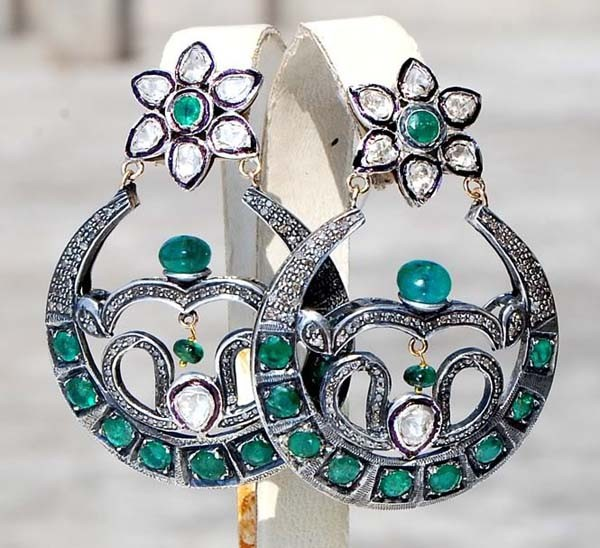 Art Deco Earrings 3.2 Ct Uncut Natural Certified Diamond 925 Sterling Silver Party