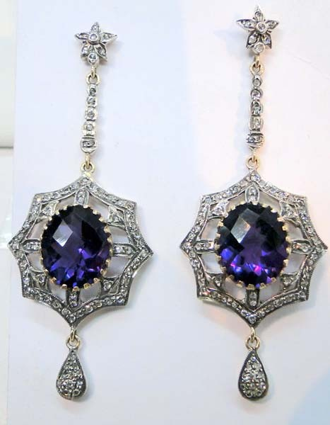 Art Deco Earrings 2.88 Ct Uncut Natural Certified Diamond 925 Sterling Silver Workwear
