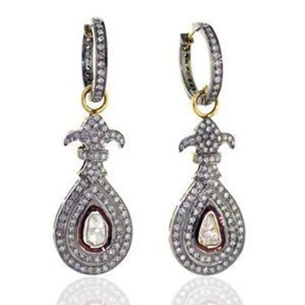 Polki Earrings 2.28 Ct Uncut Natural Certified Diamond 925 Sterling Silver Engagement