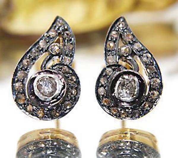 Victorian Drop Earrings 0.7 Ct Uncut Natural Certified Diamond 925 Sterling Silver Anniversary
